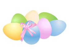 Easter eggs and bow Stock Image