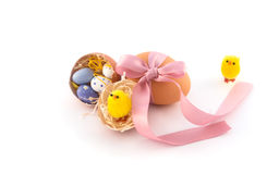 Easter eggs with bow and chicken Royalty Free Stock Image