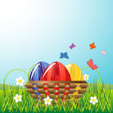 Easter eggs in the bowl Stock Images