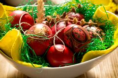 Easter eggs in bowl - Easter decoration. For the upcoming holiday Royalty Free Stock Image