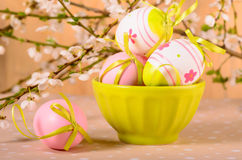 Easter eggs in the bowl Royalty Free Stock Image