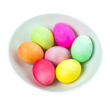 Easter eggs in a bowl on white background Stock Image