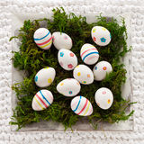 Easter eggs in a bowl Royalty Free Stock Images