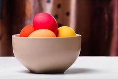 Easter eggs in a bowl Royalty Free Stock Photography