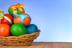Easter eggs with  bows Stock Image