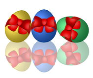 Easter eggs with bows Royalty Free Stock Photo