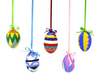 Easter eggs with bows on lace Stock Photos