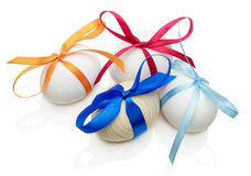 Easter eggs with bows  on white background Stock Photography