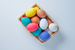 Easter eggs in box. happy easter. horizontal shot stock photos