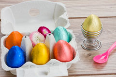 Easter eggs in box and holder Royalty Free Stock Photography