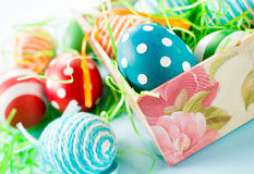 Easter eggs in the box Stock Photos