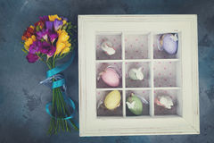 Easter eggs in box Stock Photos