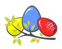 Easter eggs and branch Royalty Free Stock Photography