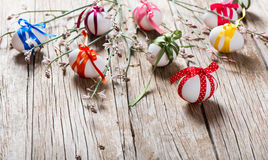 Easter eggs and branch with flowers Stock Image