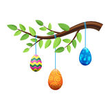 Easter Eggs on Branch with Leaves Illustration Royalty Free Stock Image