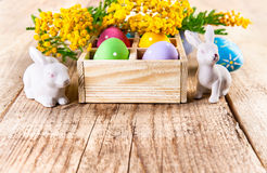 Easter eggs branch mimosa and white rabbit on wooden board copyspace Stock Images