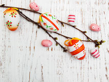 Easter eggs and branch Stock Photos