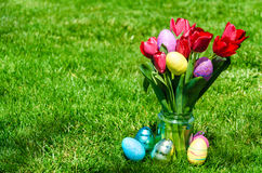 Easter eggs and bright red tulips on the grass background Royalty Free Stock Images