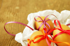 Easter eggs with bright tapes Stock Image