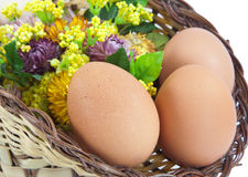 Easter eggs in brown basket Stock Image