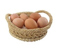 Easter eggs in brown basket Royalty Free Stock Images