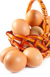 Easter eggs in brown basket Stock Photography