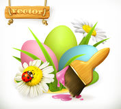 Easter eggs and brush with paint. vector icon Stock Images
