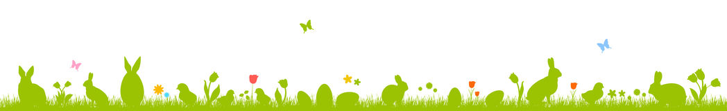 Easter eggs and bunnies. Banner with Easter eggs, rabbits, chickens and flowers. Silhouettes on a white background. Easter banner Stock Photos