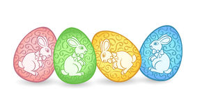 Easter eggs with bunnies Stock Photo