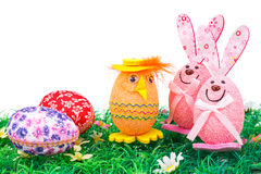 Easter eggs and bunnies decoration Royalty Free Stock Photo