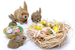 Easter eggs with bunnies Stock Photos