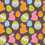 Easter eggs and bunnies seamless pattern Royalty Free Stock Images