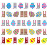 Easter Eggs And Bunnies Seamless Stripes royalty free stock photos
