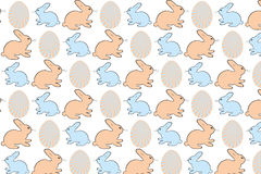 Easter eggs and bunnies - Stock Illustration. Easter eggs and bunnies in colorful seamless retro pattern - vector illustration stock illustration