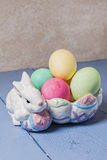 Easter eggs,bunny,bowl Royalty Free Stock Images