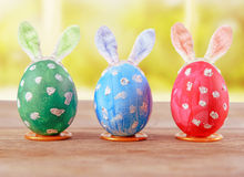 Easter eggs with bunny ears Stock Photo