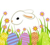 Easter eggs and bunny. In grass isolated on white stock illustration