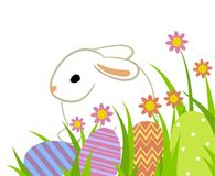 Easter eggs and bunny. In grass isolated on white royalty free illustration