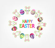 Easter eggs with bunny funny around greeting card Royalty Free Stock Photo