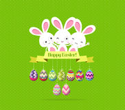 Easter eggs and bunny funny label greeting card Royalty Free Stock Images