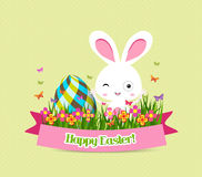 Easter eggs and bunny graphical elements Royalty Free Stock Image