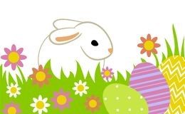 Easter eggs and bunny. In grass isolated on white Stock Image