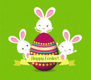 Easter eggs and bunny greeting card Stock Images
