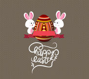 Easter eggs and bunny greeting card with label Royalty Free Stock Photography
