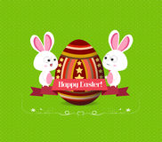 Easter eggs and bunny greeting card with label Stock Images