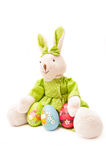Easter eggs with bunny. Isolated on white background Stock Photo
