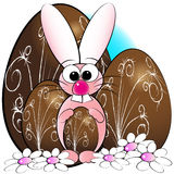 Easter eggs and bunny - Kids illustration stock image