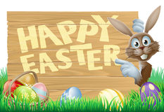 Easter eggs and bunny sign Stock Photo
