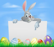 Easter eggs and bunny sign Royalty Free Stock Photo