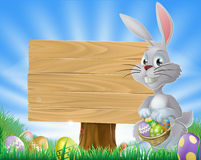 Easter eggs bunny and sign Stock Image